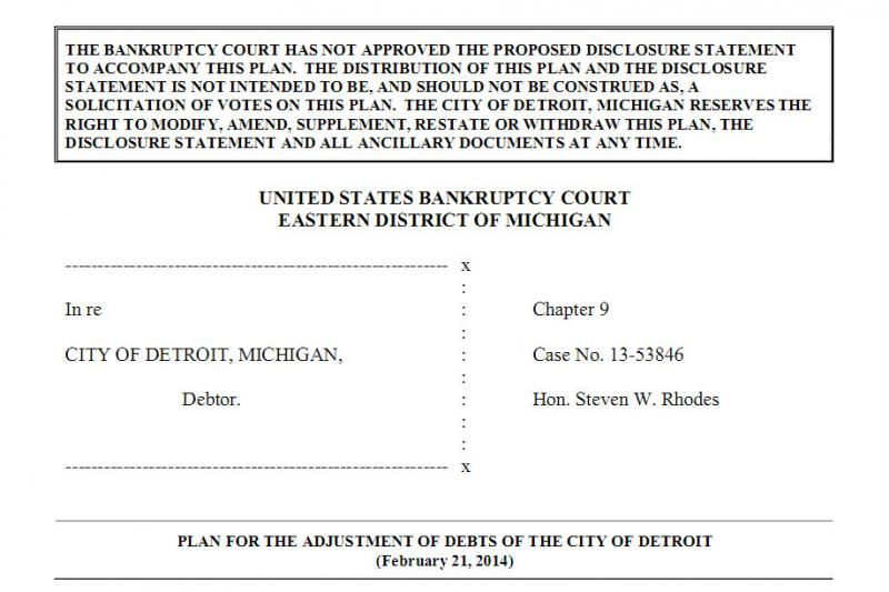 From the first page of the plan of adjustment filed in court today.