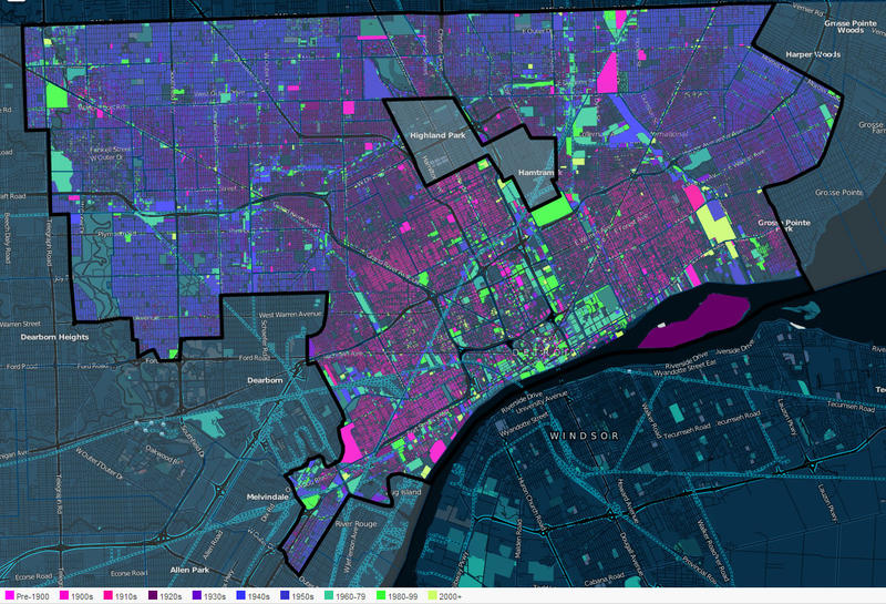 You can see how Detroit developed over time with this map. The pink parcels are the oldest, the blue a little newer, and the green are the newest.