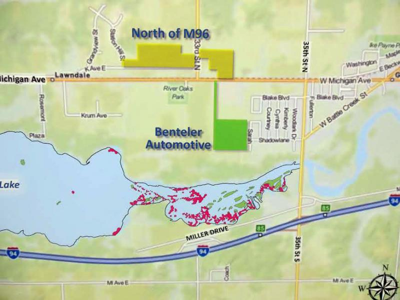 The Benteler site (green) is where Enbridge will set up for their dredging project.