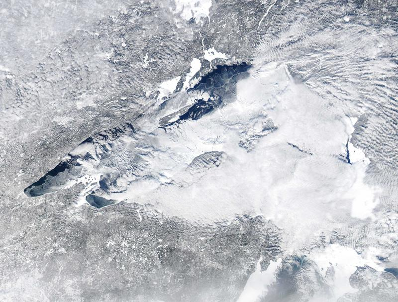 Lake Superior on Feb. 4, 2014. Can you find the ice bridge to Isle Royale in this photo? It's there.