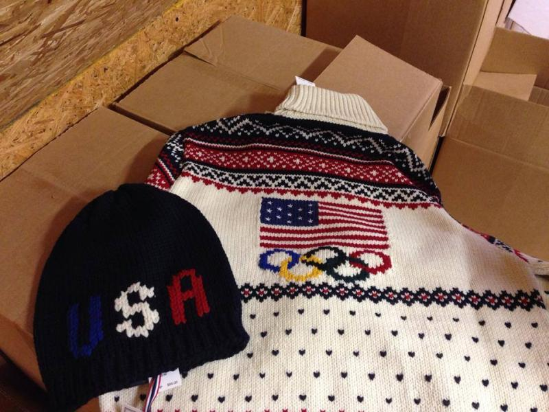 The sweater that will be worn by the U.S. team at the closing ceremony for the Winter Olympics in Sochi.