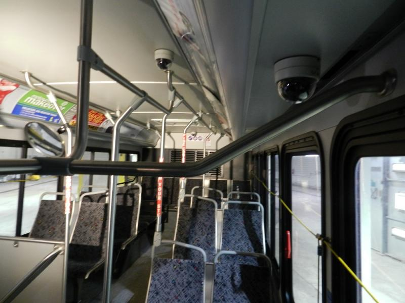 Cameras, like to two seen here, are being installed in 50 Detroit city buses