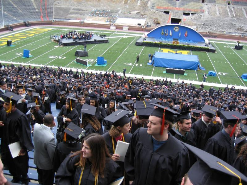 Students prepare for graduation at the University of Michigan.