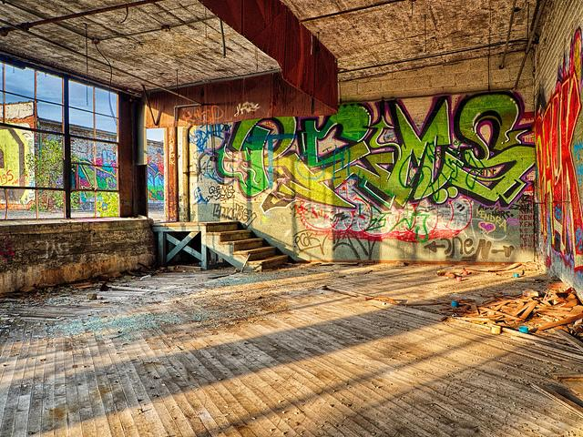 Graffiti inside Detroit's Fisher Body Plant.