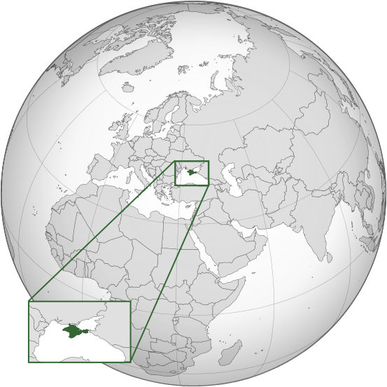 Crimea's location on the globe.