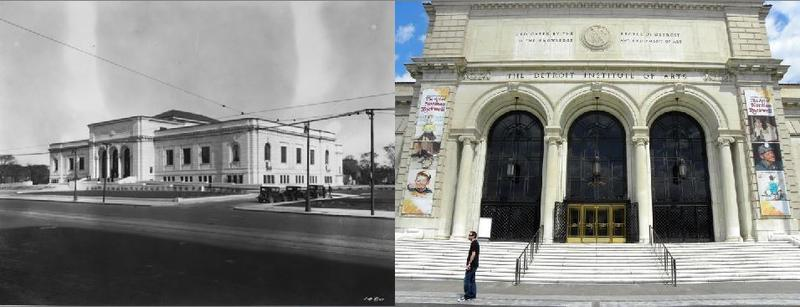 The Detroit Institute of Arts in 1927, and the museum now.