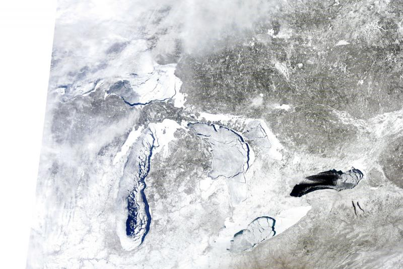 Great Lakes as photographed by a NOAA satellite on March 6, 2014.
