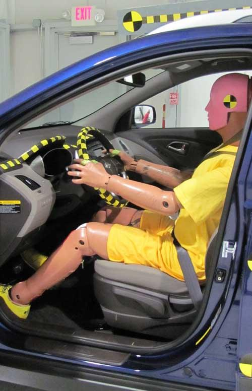 Dummy in a Hyundai Tucson before a crash test