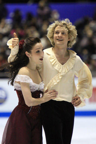 Meryl Davis and Charlie White at the 2009-2010 Grand Prix Final. Stephen Colbert wanted to know if White's hair was on performance enhancing drugs.