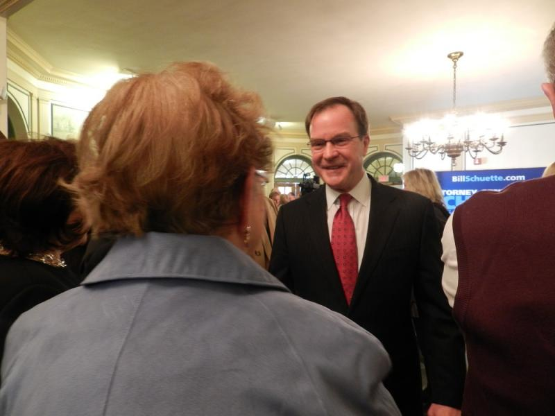 In his speech, Michigan Attorney General Bill Schuette (R) touted his record in office, including efforts to combat human trafficking and protect pensions.