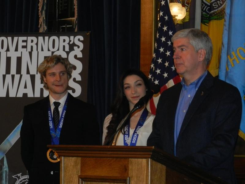 """I think it's fair to say that Michigan is the Ice Dancing capitol of the world,"" Gov. Snyder said, which drew applause from the audience."