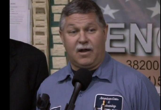 Jeff Emerson, president of American Gear & Engineering Inc., in 2010 at a press conference with then-Gov. Jennifer Granholm.