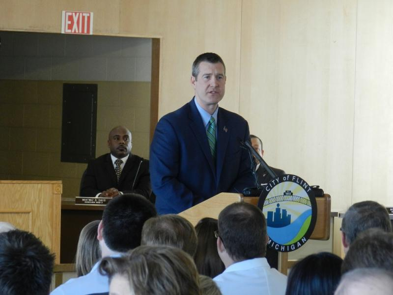 "Mayor Dayne Walling delivered Flint's ""State of the City"" speech yesterday."