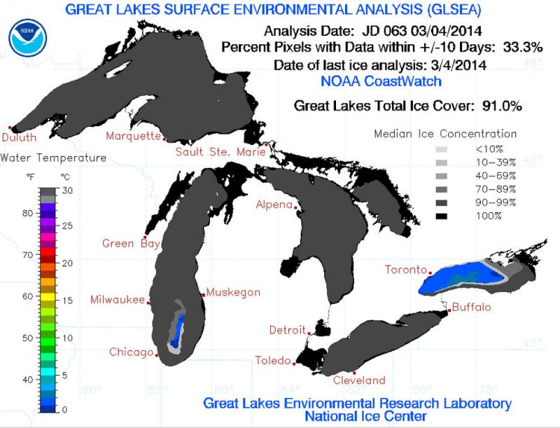 Great Lakes ice levels as of March 4, 2014. The blue areas show open water.
