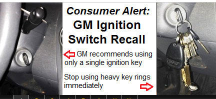 Consumer alert issued for the GM ignition switch recall.