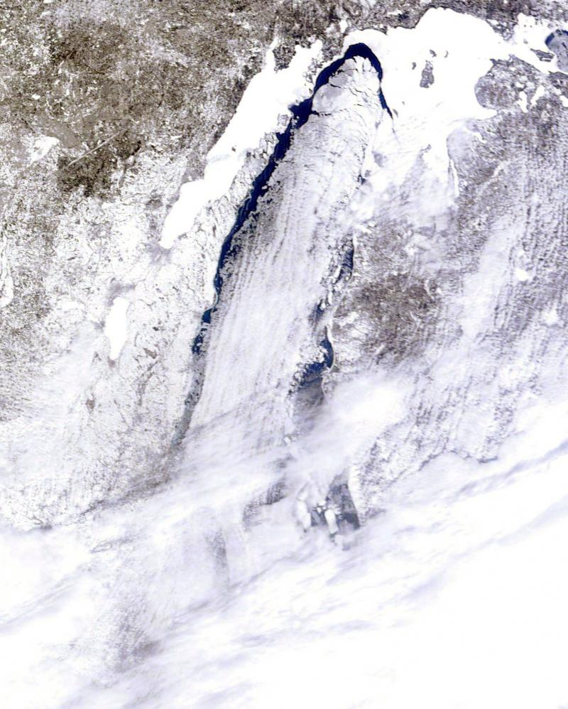 Lake Michigan as photographed by a NOAA satellite on March 8, 2014.