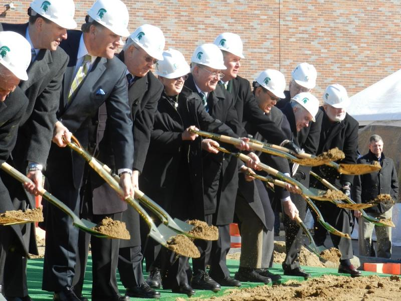 Numerous dignitaries, including U.S. Senators Carl Levin and Debbie Stabenow, symbolically broke ground for the Facility for Rare Isotope Beams on the MSU campus.