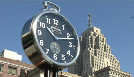 The clock outside of Cobo Center.