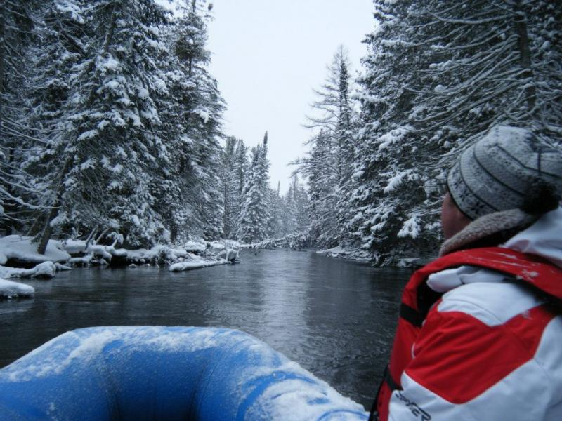 Winter rafting in Michigan.