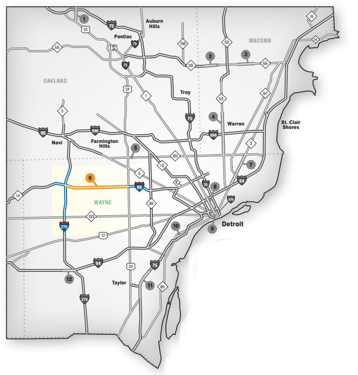 Map showing where I-96 will be closed starting tomorrow.