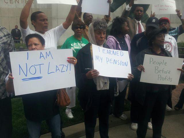 Pension protest in Detroit.