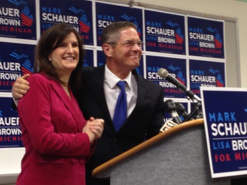 Mark Schauer and Lisa Brown at today's announcement.