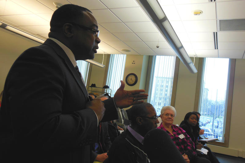 Former BHAS Superintendent Leonard Seawood addresses the Emergency Loan Board in Lansing in March, 2015.