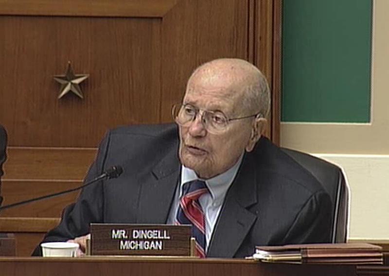Congressman John Dingell, D-MI, asks questions during the hearing.