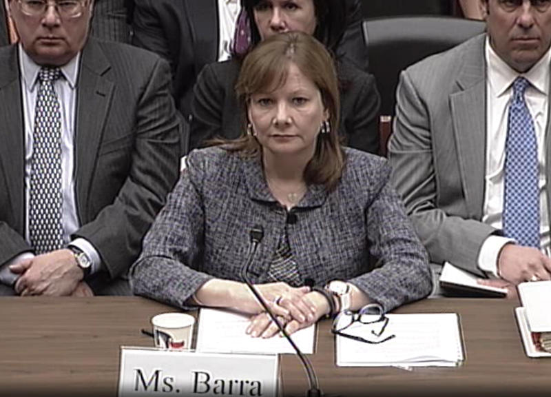 GM CEO Mary Barra prepares to give her testimony in front of a subcommitte of the U.S. House of Representatives Energy and Commerce Committee.