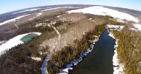 One of the aerial images near Munising, MI capture from the video.