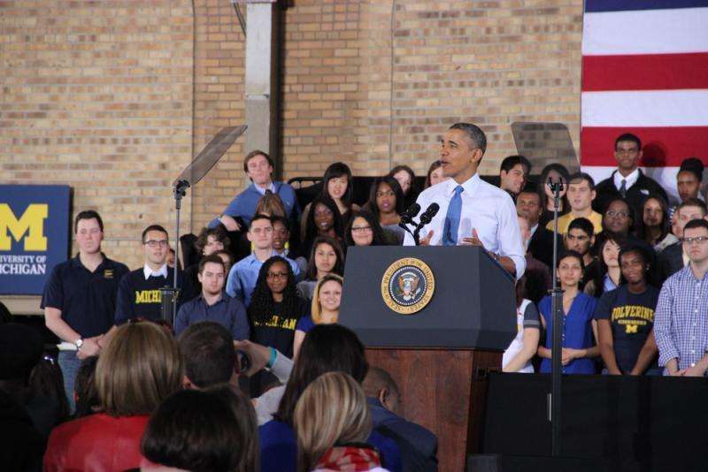 President Obama delivering his speech in Ann Arbor, MI.