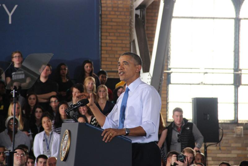 President Obama delivering his speech in Ann Arbor, Michigan, on raising the federal minimum wage.