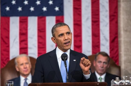 President Obama delivering his 2014 State of the Union speech. He called on Congress to raise the federal minimum wage during this speech.