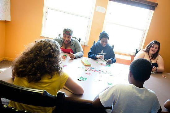 Children gather at the Starfish Family Services Crisis Shelter in Inkster.