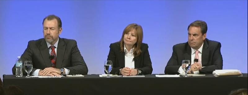 GM executives answer questions during this morning's press conference.