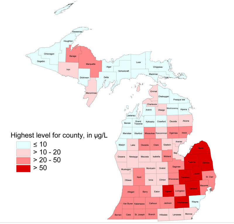 Sampling done from 1983 through 2003 shows where arsenic levels in groundwater are the highest in Michigan. Arsenic levels are in micrograms per liter.