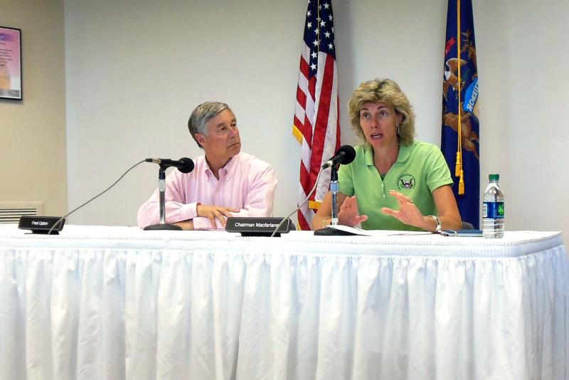 NRC Chairwoman Allison Macfarlane and Congressman Fred Upton briefed reporters after touring the Palisades and Cook nuclear plants Friday.