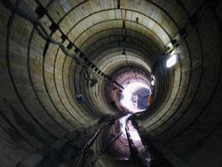 A DWSD interceptor sewer line during construction in 2001. This line is north of Detroit in the Clinton River watershed