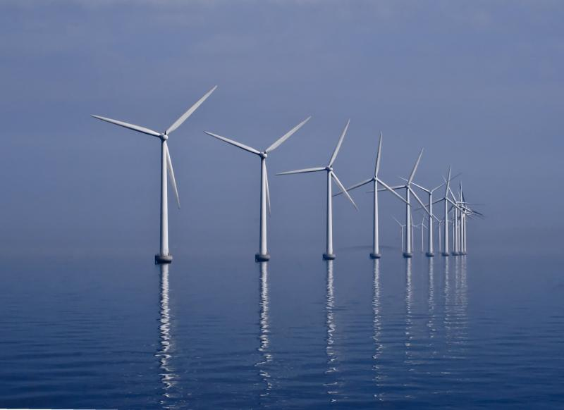 The Middelgrunden is an offshore wind farm outside Copenhagen, Denmark.