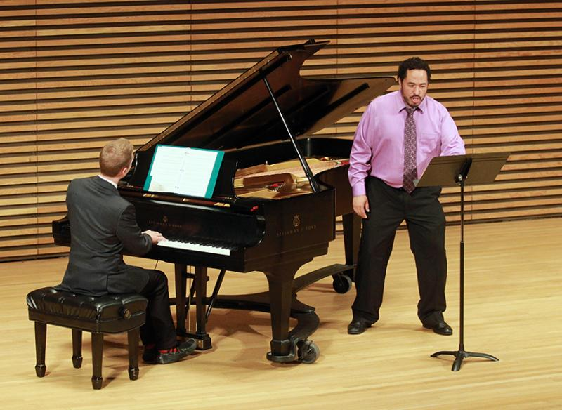 U of M School of Music, Theater and Dance Professor Scott Piper (U-M SMTD) and pianist Michael Carpenter at Stamps Auditorium, performing 'The Star-Spangled Banner.'