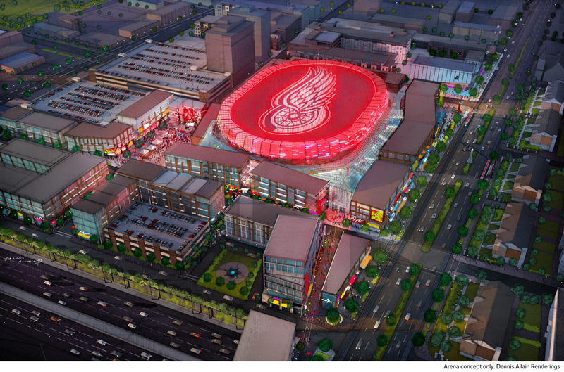 An artists' vision of Little Caesars Arena.