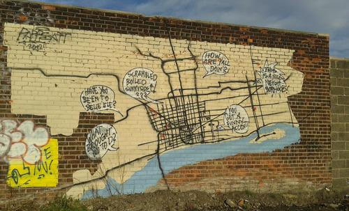 "One of the photos archived on Dickson's blog. This graffiti, in Dickson's word, ""does a pretty solid job depicting the city's main roads."""