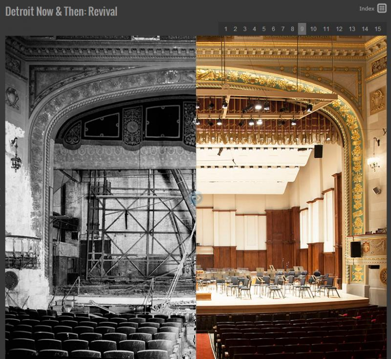 Orchestra Hall in Detroit sat vacant for almost 20 years before renovation started in the 1970s. An iconic building saved from ruin.