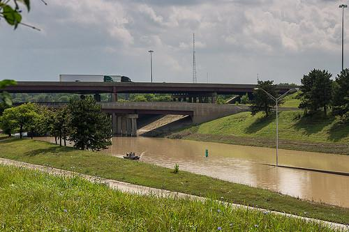 A flooded freeway in Royal Oak, Michigan