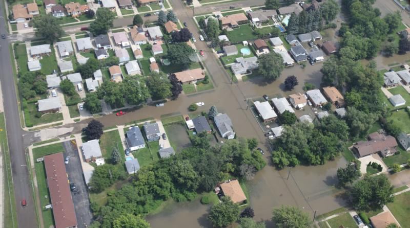 Aerial shot of flooding in metro Detroit on August 12, 2014.
