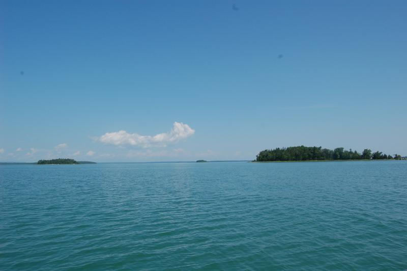 The many islands of the North Channel start to pop up around Michigan's Drummond Island.