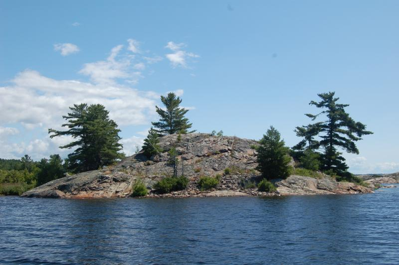 There are hundreds of islands on Lake Huron's north channel. This island is in Whalesback Channel.
