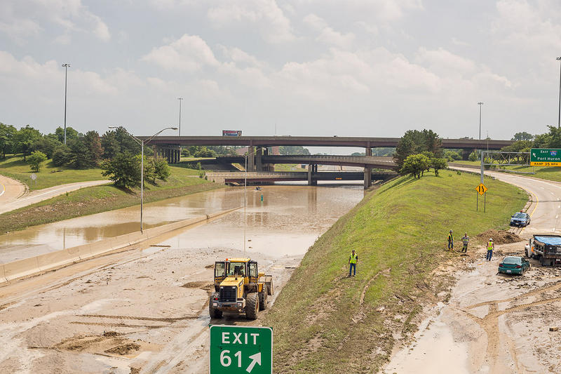 The I-75 / I-696 interchange after the rainstorm.