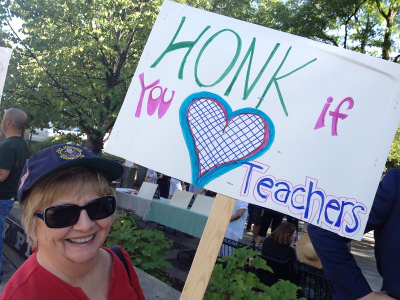 Retired English teacher Pat Kuessner at MTAC rally (CLICK ON PHOTO FOR SLIDE SHOW)