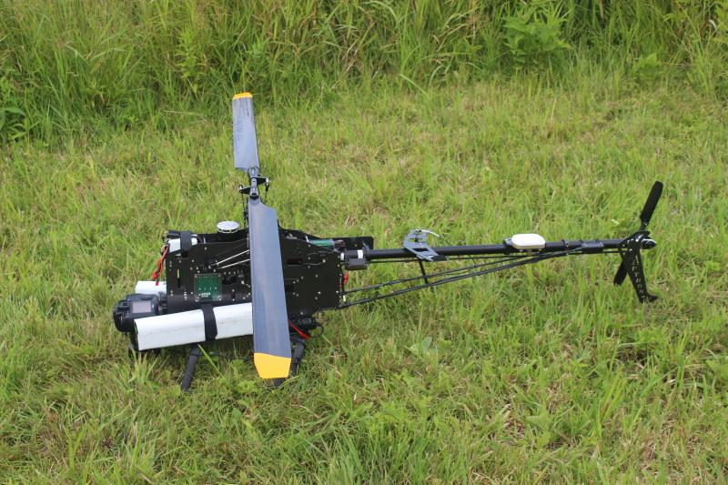 The remote control helicopter is six feet long.